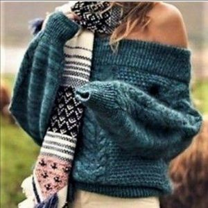 Sleeping On Snow Off Shoulder Cable Knit Sweater
